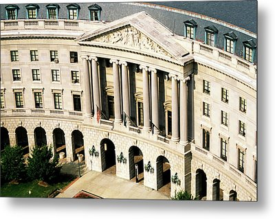 Flags Flying Outside Capitol Building In Washington Dc Metal Print by Sami Sarkis