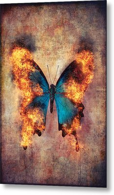 Flaming Blue Butterfly Metal Print
