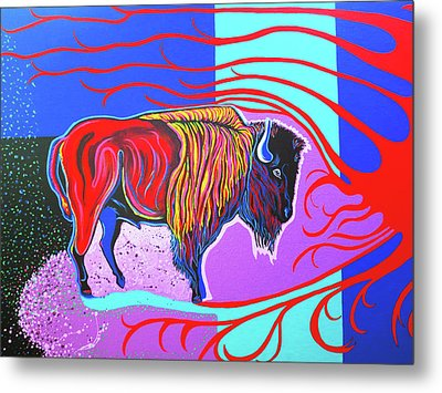 Flaming Heart Buffalo Metal Print