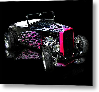 Flaming Hot Roadster  Metal Print by Peter Piatt