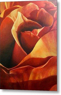 Flaming Rose Metal Print