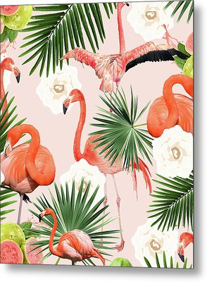 Flamingo Guava Metal Print