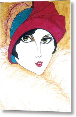 Flapper Girl 1 Metal Print by Rae Chichilnitsky