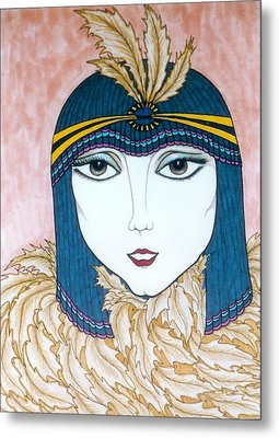 Metal Print featuring the greeting card Flapper Girl 2 by Rae Chichilnitsky