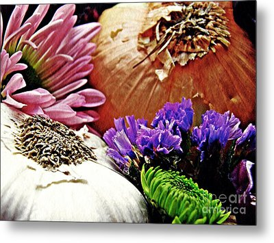 Flavored With Onion And Garlic Metal Print by Sarah Loft