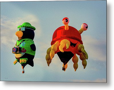 Floating Aerial Photographer And The Smiling Crab Metal Print by Bob Orsillo