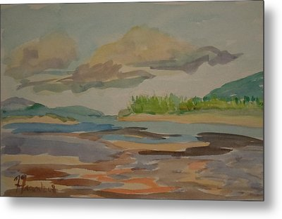 Metal Print featuring the painting Floating Clouds by Francine Frank