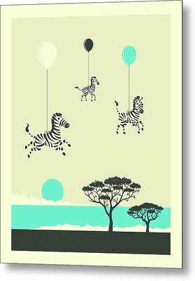 Flock Of Zebras - 1 Metal Print