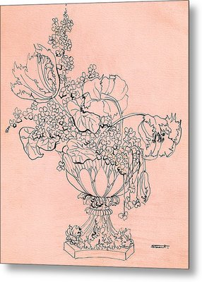 Metal Print featuring the drawing Flora 2 by Stuart