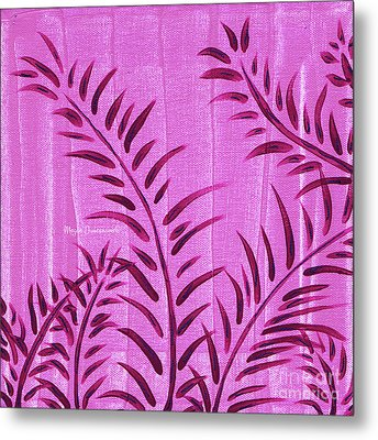 Flora Fauna Tropical Abstract Leaves Painting Magenta Splash By Megan Duncanson Metal Print