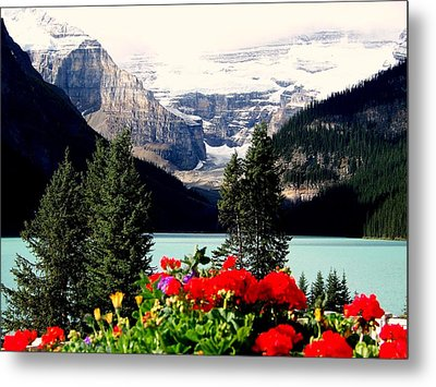 Floral And Ice Metal Print by Karen Wiles