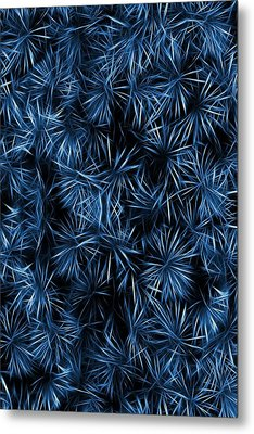 Floral Blue Abstract Metal Print by David Dehner