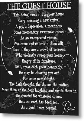 Floral Guest House Poem Metal Print