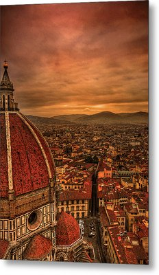 Florence Duomo At Sunset Metal Print by McDonald P. Mirabile