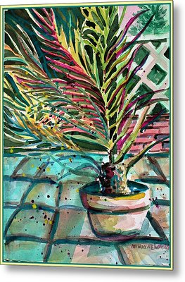 Metal Print featuring the painting Florescent Palm by Mindy Newman