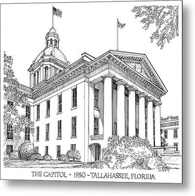 Florida Capitol 1950 Metal Print by Audrey Peaty