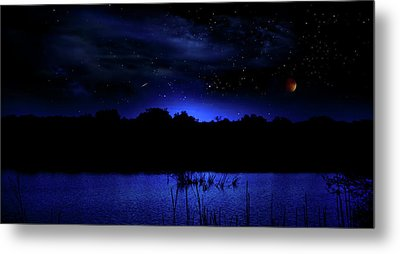 Florida Everglades Lunar Eclipse Metal Print