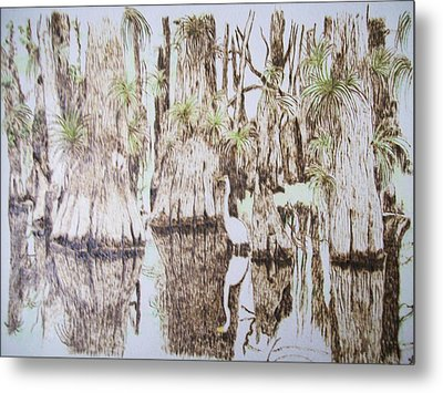 Florida Wildlife Pyrograpgic Portrait By Pigatopia Metal Print by Shannon Ivins