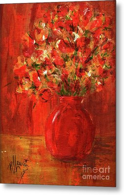 Metal Print featuring the painting Florists Red by P J Lewis