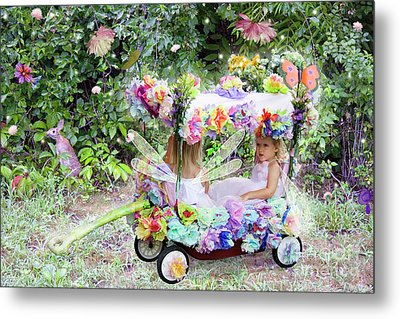 Flower Fairies In A Flower Mobile Metal Print by Lise Winne
