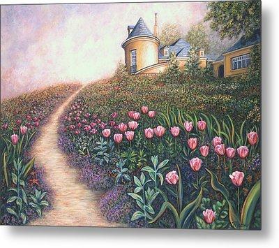 Flower Garden Pathway Metal Print by Linda Mears