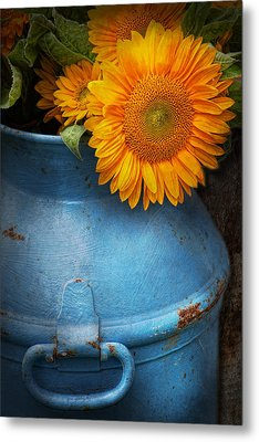 Flower - Sunflower - Little Blue Sunshine  Metal Print by Mike Savad