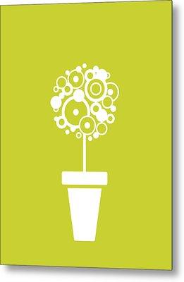 Flower Vase On Kiwi Metal Print by Flavio Coelho