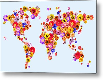 Flower World Map Metal Print by Michael Tompsett