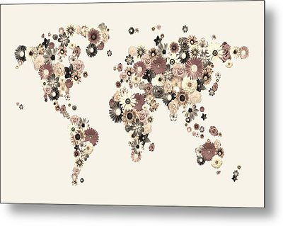 Flower World Map Sepia Metal Print