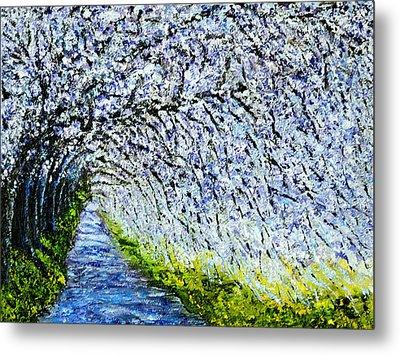 Flowering Tree Lane Metal Print