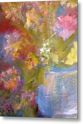 Flowers In A Blue Vase Metal Print by Patricia Taylor
