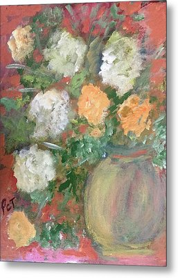 Flowers In A Pot Metal Print by Patricia Taylor