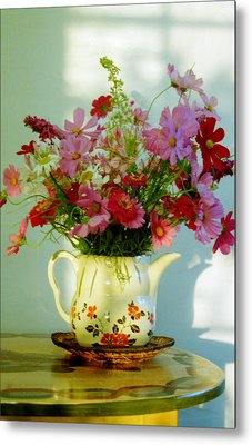 Flowers In A Teapot Metal Print by Patricia Greer