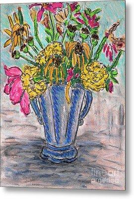 Flowers In Blue Vase Metal Print by Gerhardt Isringhaus
