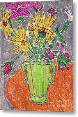 Flowers In Green Vase Metal Print by Gerhardt Isringhaus