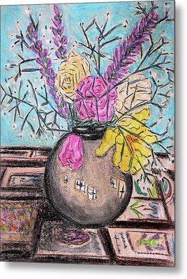 Flowers In Grey Vase Metal Print by Gerhardt Isringhaus
