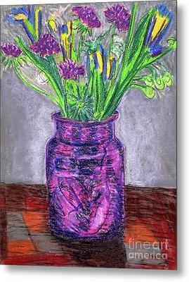 Flowers In Purple Vase Metal Print by Gerhardt Isringhaus