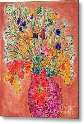 Flowers In Red Vase Metal Print by Gerhardt Isringhaus