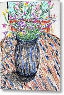 Flowers In Stripped Vase Metal Print by Gerhardt Isringhaus