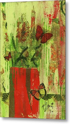 Metal Print featuring the mixed media Flowers,butteriflies, And Vase by P J Lewis