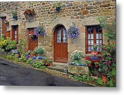 Flowery Doorways In Brittany Metal Print