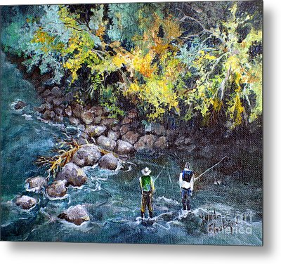 Fly Fishing Metal Print by Linda Shackelford