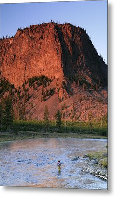 Fly Fishing On The Madison River Metal Print by Drew Rush