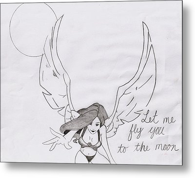 Fly Me To Moon Metal Print