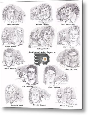 Metal Print featuring the drawing Flyer Greats by Chris  DelVecchio