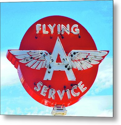 Flying A Service Sign Metal Print by Joan Reese