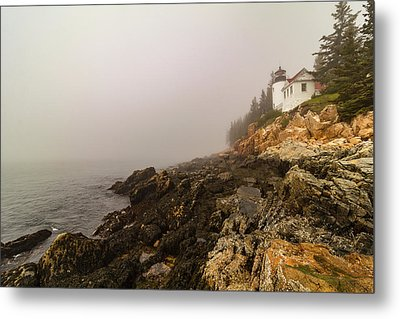 Metal Print featuring the photograph Fog At Bass Harbor Lighthouse by Jeff Folger
