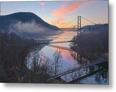 Foggy Dawn At Three Bridges Metal Print by Angelo Marcialis