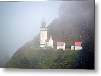 Metal Print featuring the photograph Foggy Day At The Heceta Head Lighthouse by AJ Schibig