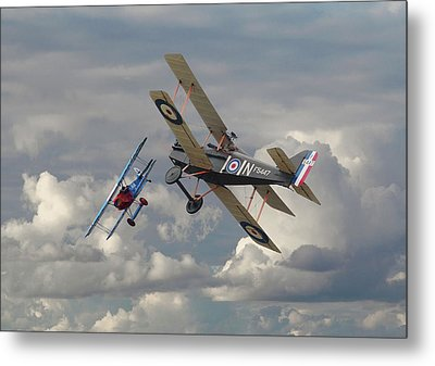 Metal Print featuring the digital art Fokker Dvll And Se5 Head To Head by Pat Speirs